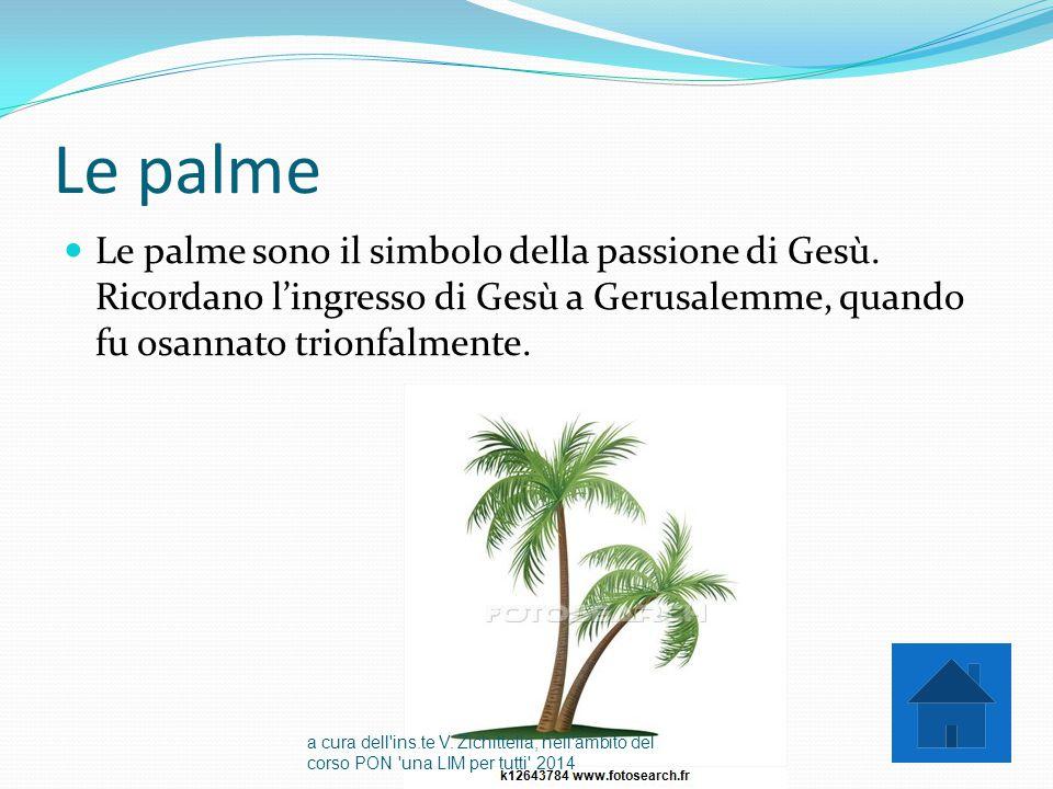 Le palme Le palme sono il simbolo della passione di Gesù. Ricordano l'ingresso di Gesù a Gerusalemme, quando fu osannato trionfalmente.