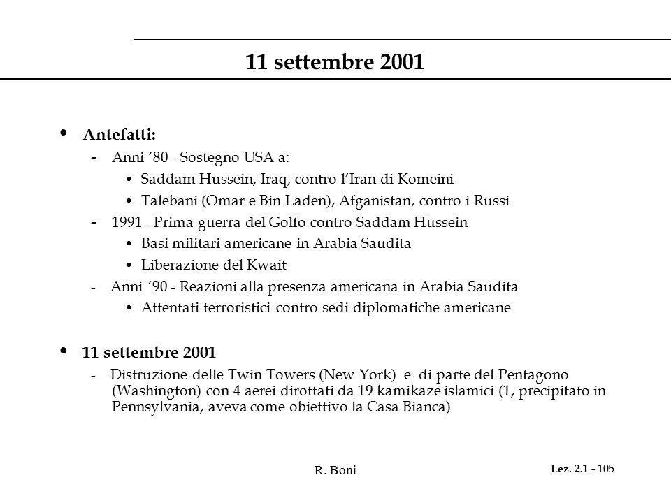 11 settembre 2001 Antefatti: 11 settembre 2001
