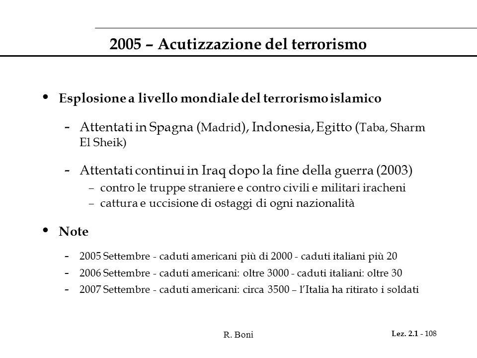 2005 – Acutizzazione del terrorismo