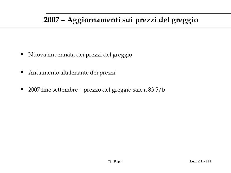 2007 – Aggiornamenti sui prezzi del greggio