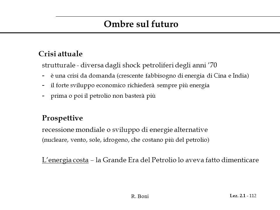 Ombre sul futuro Prospettive Crisi attuale