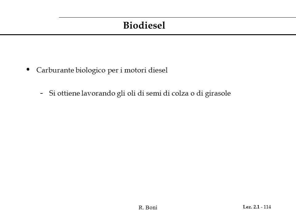 Biodiesel Carburante biologico per i motori diesel