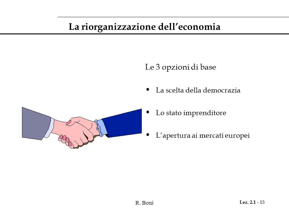 La riorganizzazione dell'economia