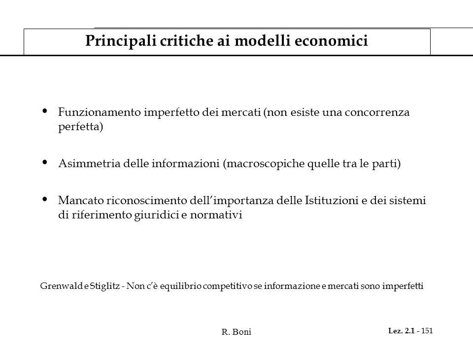 Principali critiche ai modelli economici