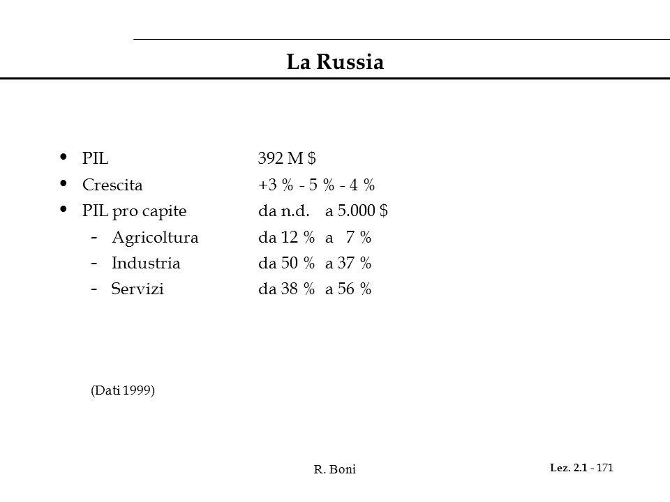 La Russia PIL 392 M $ Crescita +3 % - 5 % - 4 %