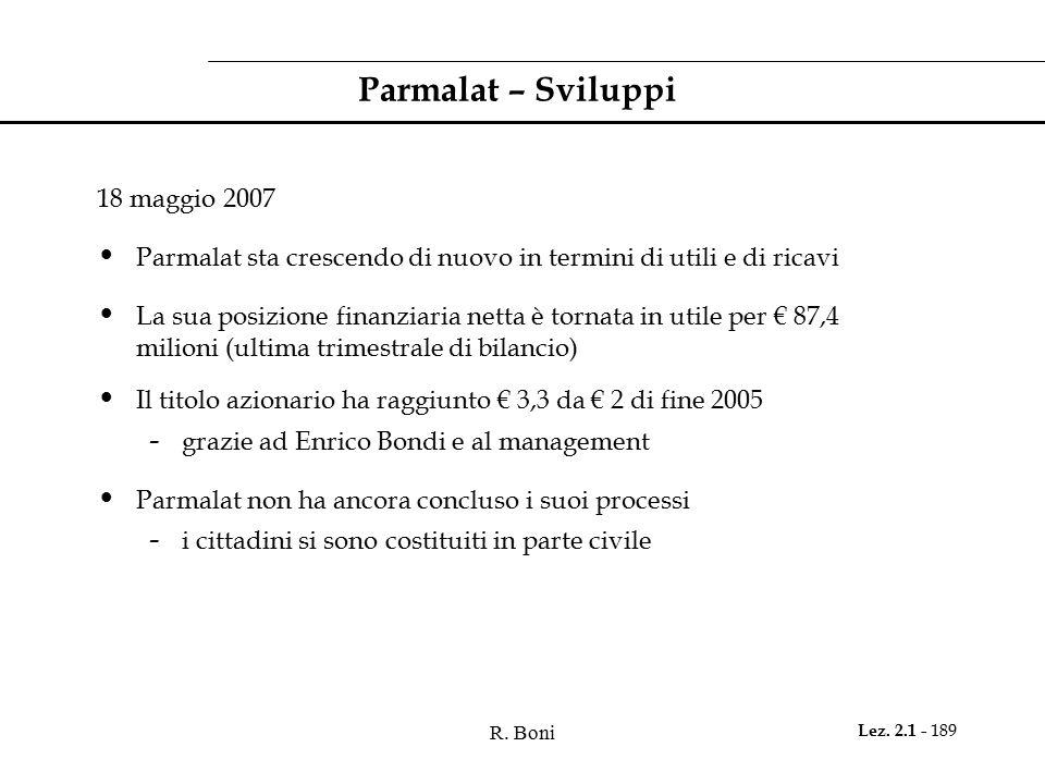 Parmalat – Sviluppi 18 maggio 2007