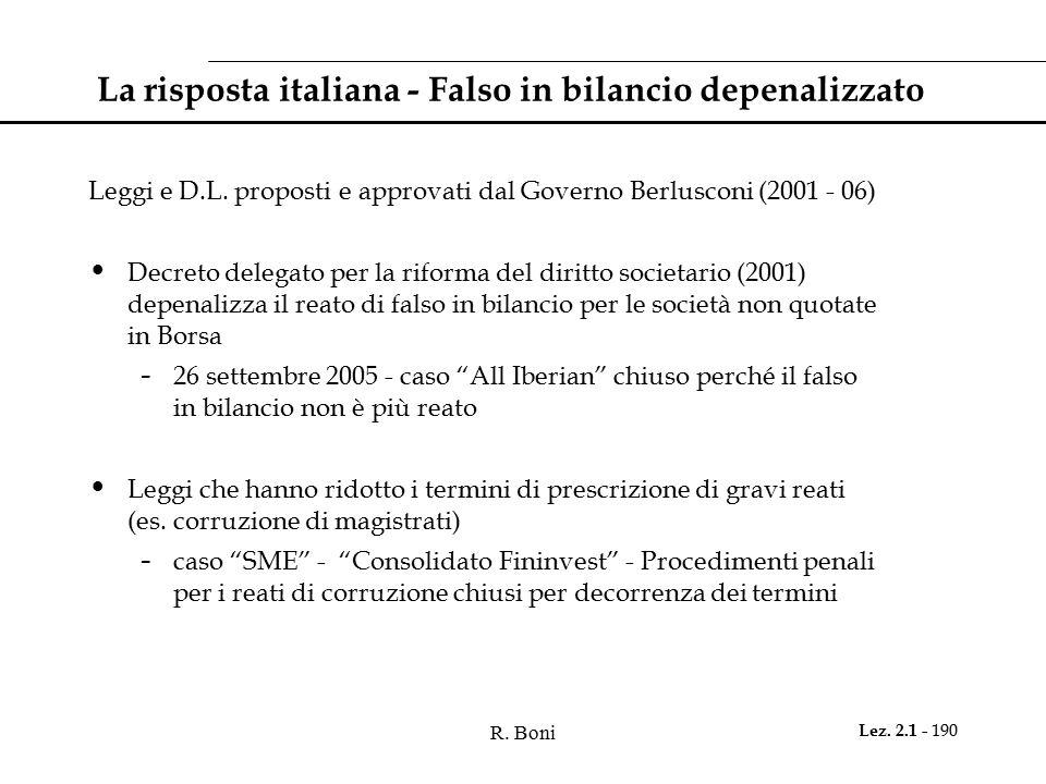 La risposta italiana - Falso in bilancio depenalizzato