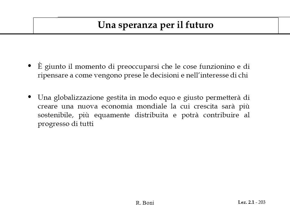 Una speranza per il futuro