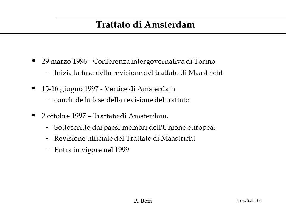 Trattato di Amsterdam 29 marzo 1996 - Conferenza intergovernativa di Torino. Inizia la fase della revisione del trattato di Maastricht.