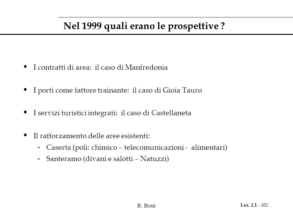 Nel 1999 quali erano le prospettive