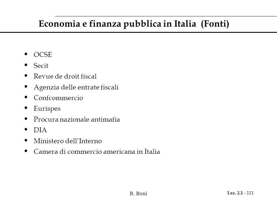 Economia e finanza pubblica in Italia (Fonti)