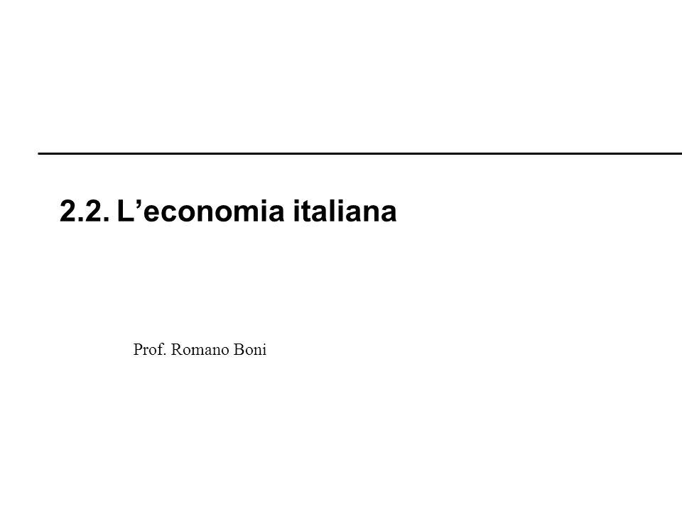 2.2. L'economia italiana Prof. Romano Boni