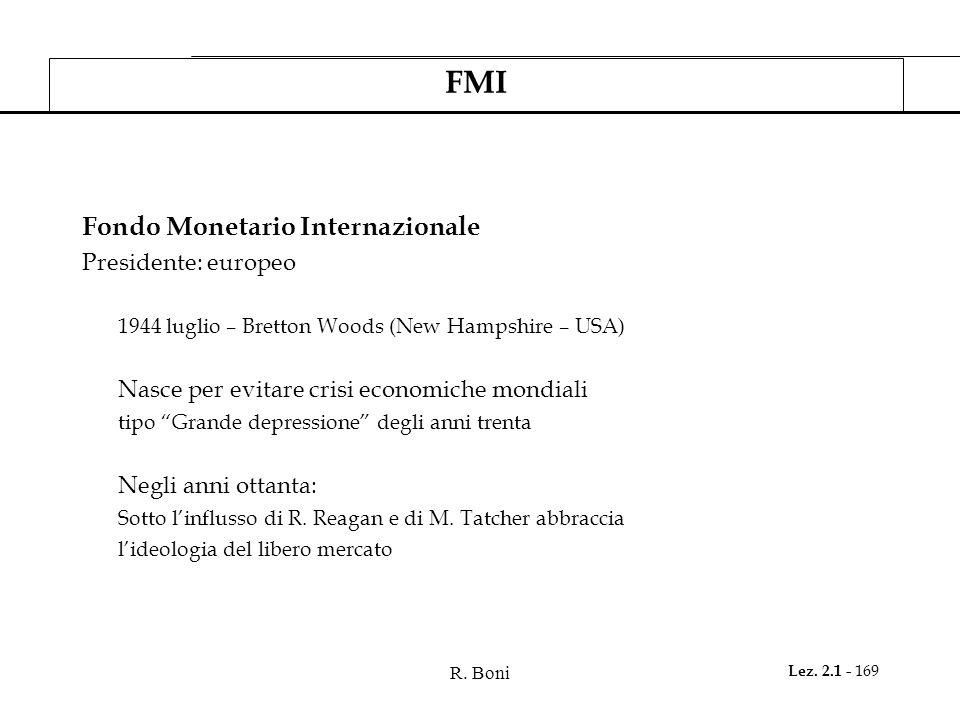 FMI Fondo Monetario Internazionale Presidente: europeo