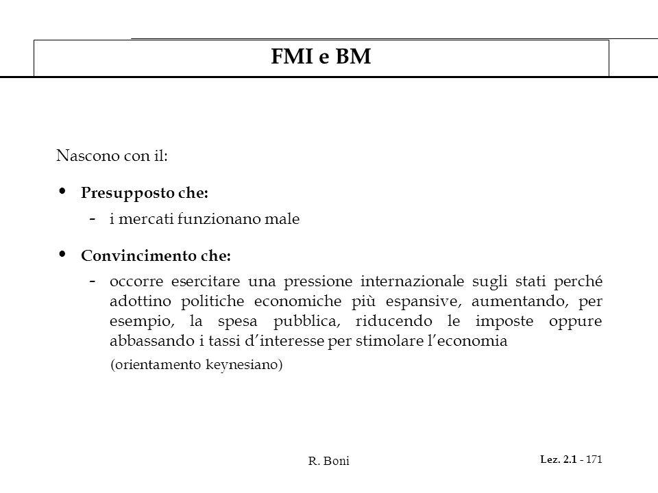 FMI e BM Nascono con il: Presupposto che: i mercati funzionano male