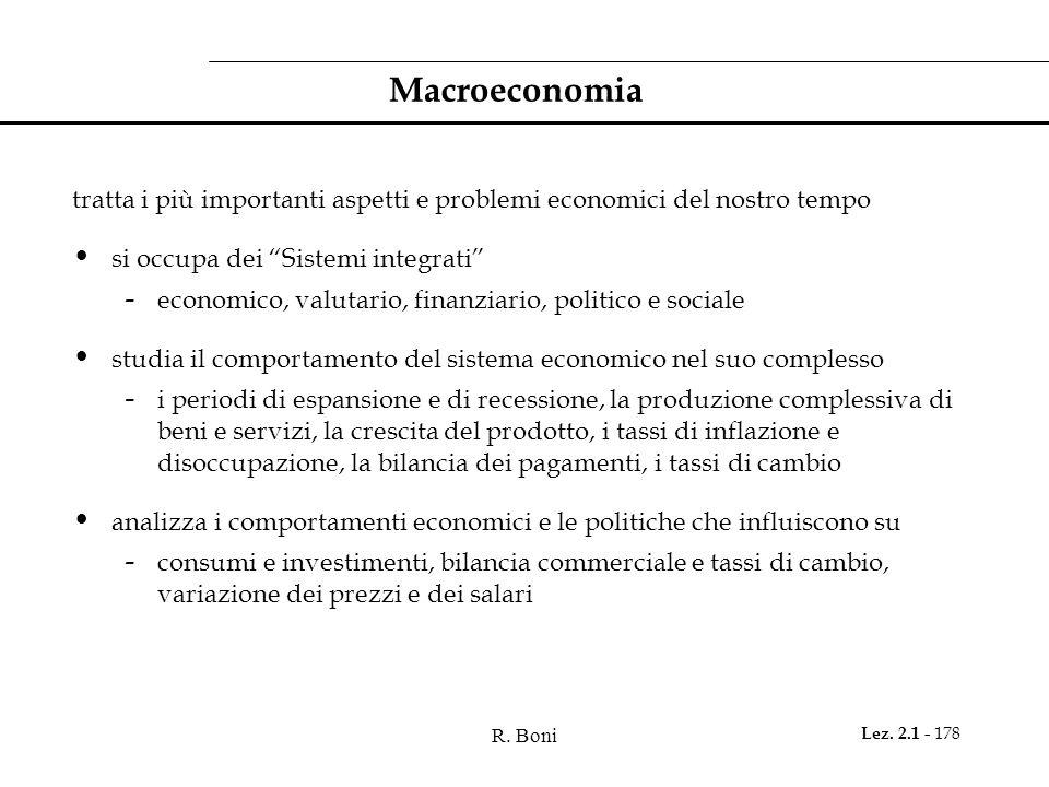 Macroeconomia tratta i più importanti aspetti e problemi economici del nostro tempo. si occupa dei Sistemi integrati