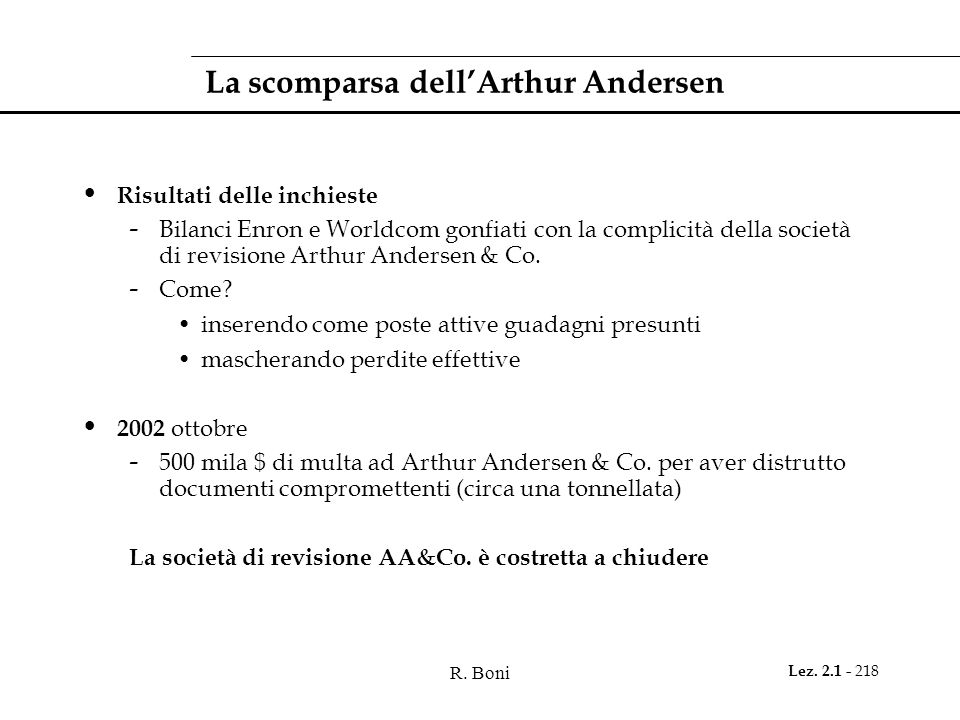 La scomparsa dell'Arthur Andersen