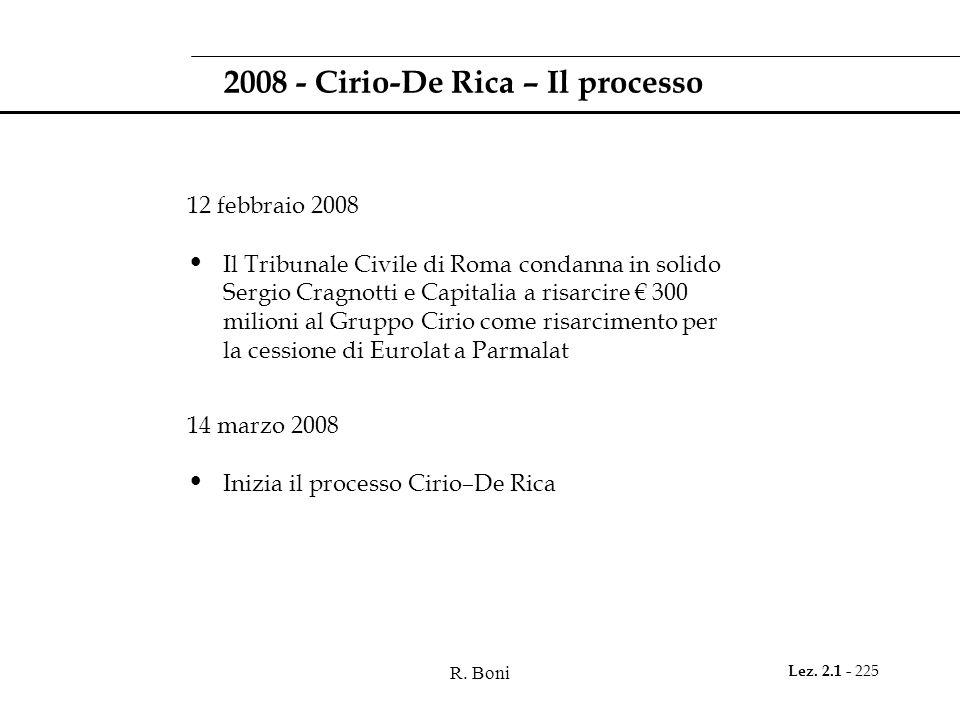 2008 - Cirio-De Rica – Il processo