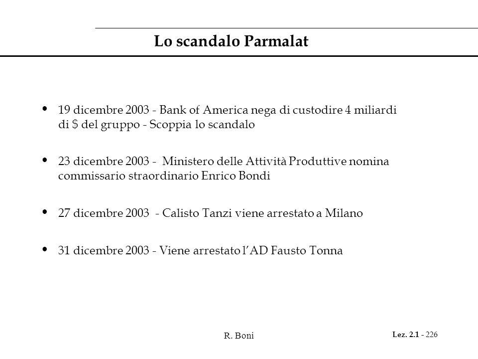 Lo scandalo Parmalat 19 dicembre 2003 - Bank of America nega di custodire 4 miliardi di $ del gruppo - Scoppia lo scandalo.
