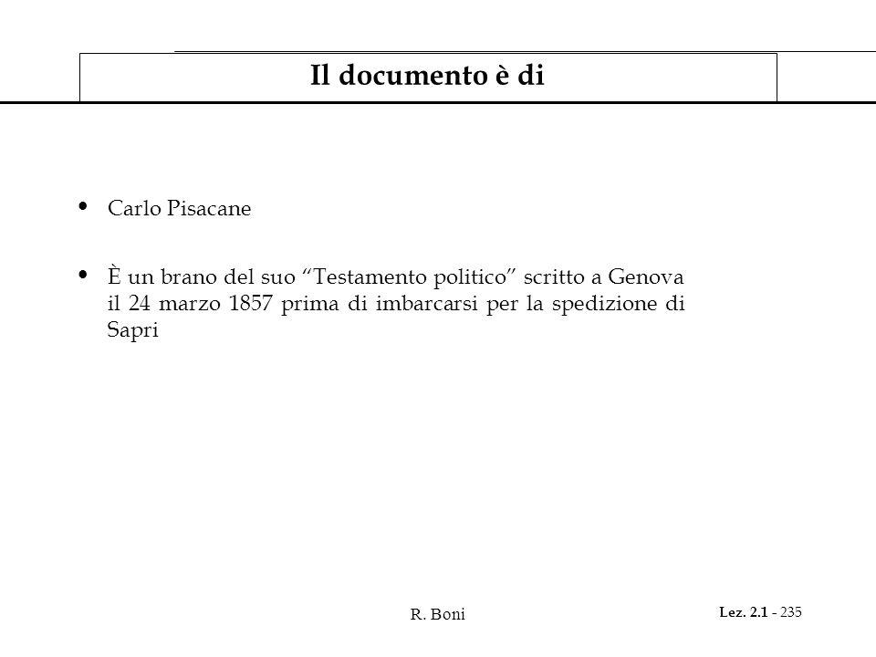 Il documento è di Carlo Pisacane