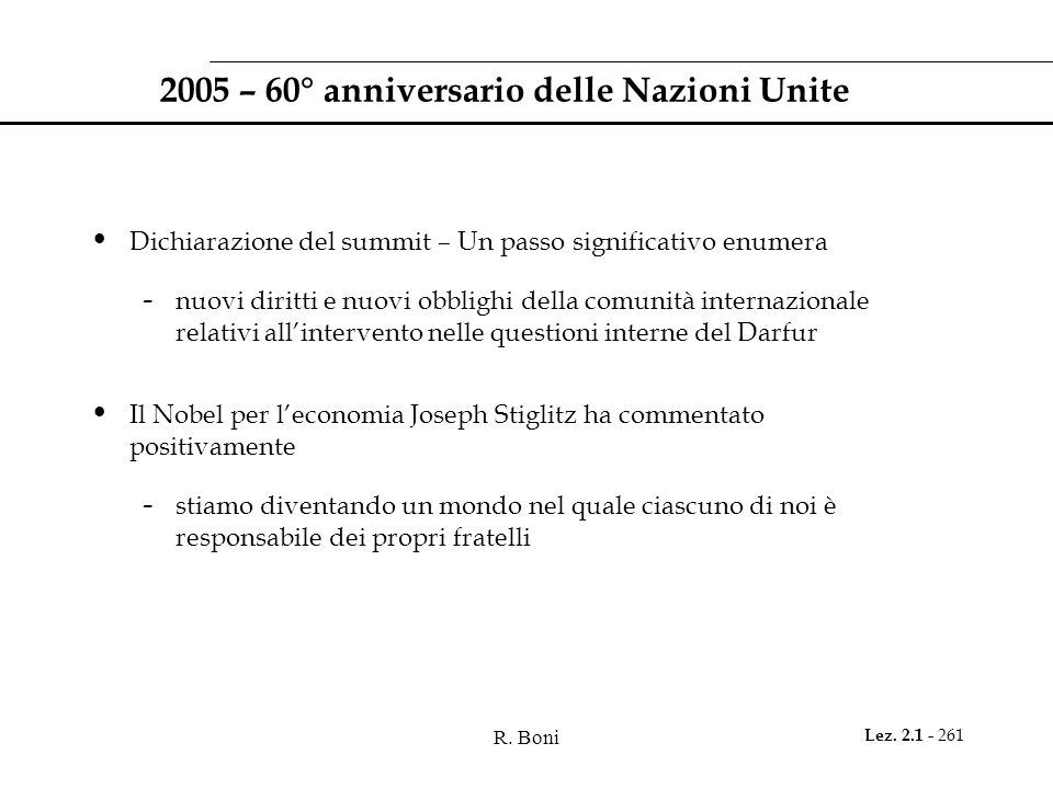 2005 – 60° anniversario delle Nazioni Unite