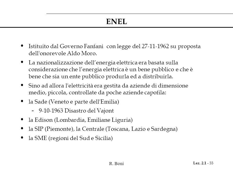 ENEL Istituito dal Governo Fanfani con legge del 27-11-1962 su proposta dell onorevole Aldo Moro.
