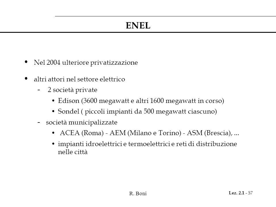 ENEL Nel 2004 ulteriore privatizzazione