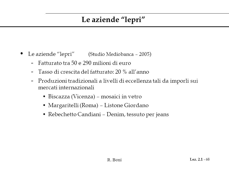 Le aziende lepri Le aziende lepri (Studio Mediobanca – 2005)