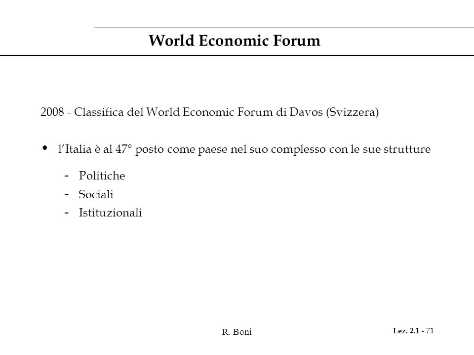 World Economic Forum 2008 - Classifica del World Economic Forum di Davos (Svizzera)