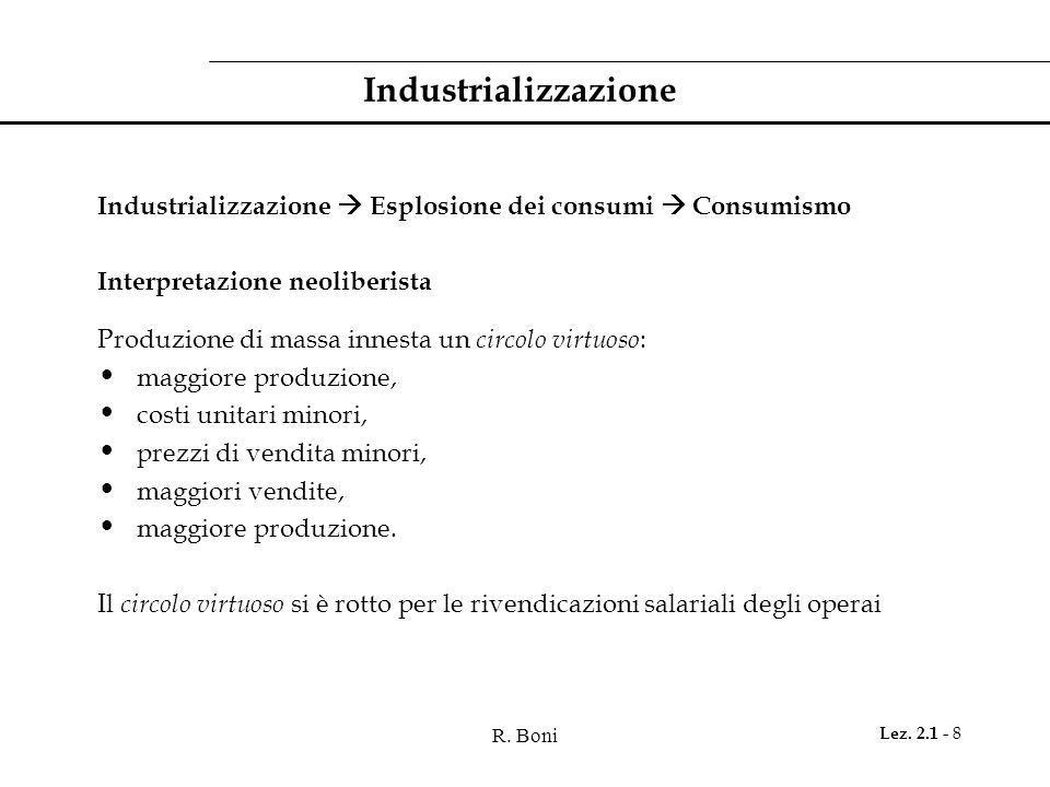 Industrializzazione Industrializzazione  Esplosione dei consumi  Consumismo. Interpretazione neoliberista.