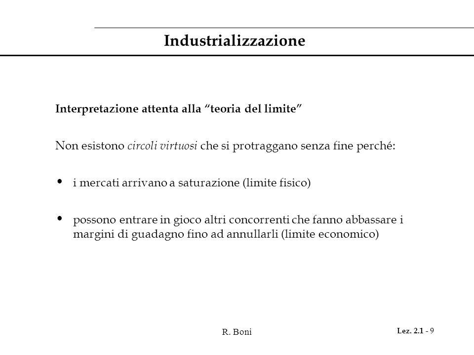 Industrializzazione Interpretazione attenta alla teoria del limite
