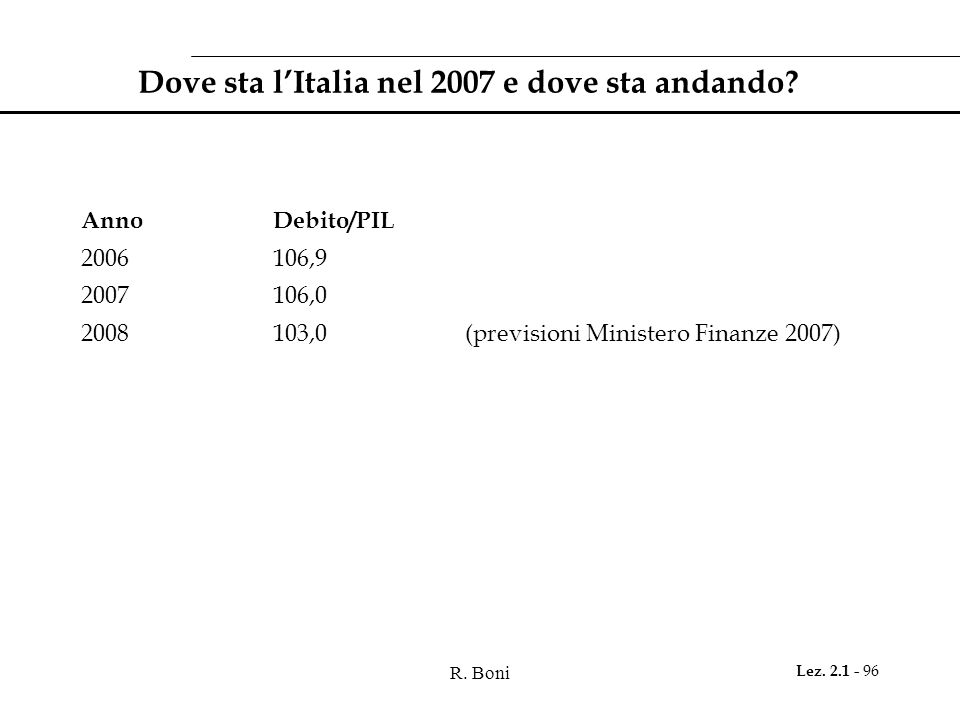 Dove sta l'Italia nel 2007 e dove sta andando