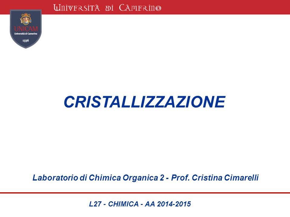 CRISTALLIZZAZIONE Laboratorio di Chimica Organica 2 - Prof.
