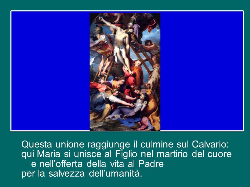 Questa unione raggiunge il culmine sul Calvario: qui Maria si unisce al Figlio nel martirio del cuore e nell'offerta della vita al Padre per la salvezza dell'umanità.