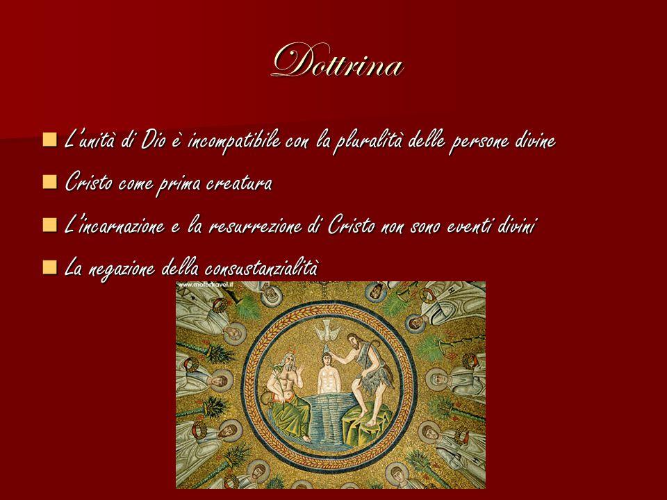 Dottrina L'unità di Dio è incompatibile con la pluralità delle persone divine. Cristo come prima creatura.