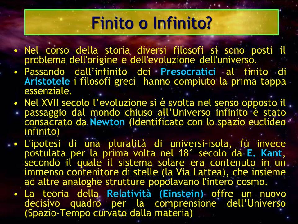 Finito o Infinito Nel corso della storia diversi filosofi si sono posti il problema dell origine e dell evoluzione dell universo.