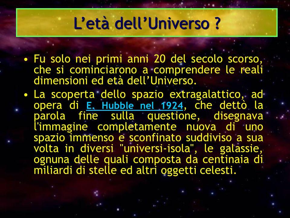 L'età dell'Universo Fu solo nei primi anni 20 del secolo scorso, che si cominciarono a comprendere le reali dimensioni ed età dell'Universo.