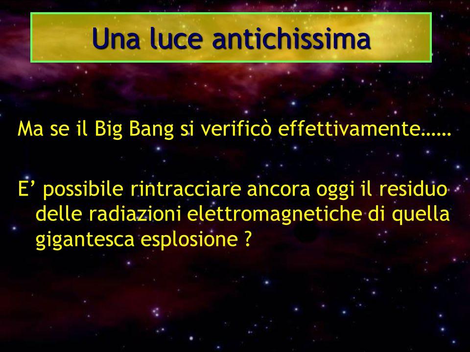 Una luce antichissima Ma se il Big Bang si verificò effettivamente……