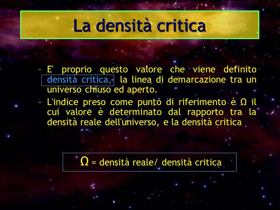 La densità critica Ω = densità reale/ densità critica