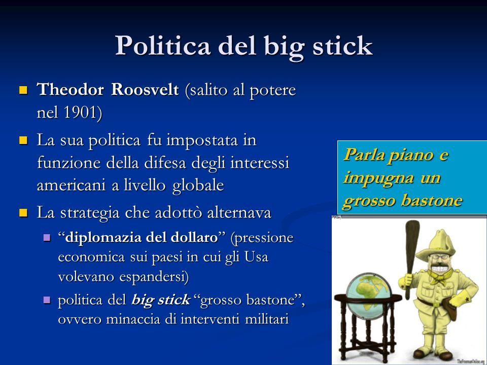 Politica del big stick Theodor Roosvelt (salito al potere nel 1901)