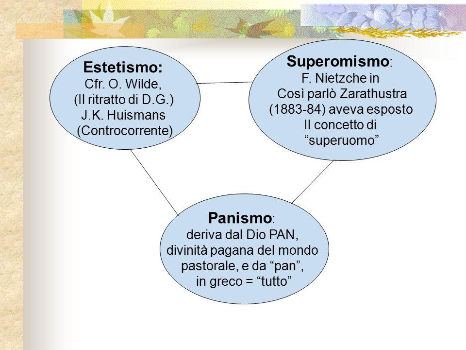 Superomismo: Estetismo: Panismo: F. Nietzche in Cfr. O. Wilde,