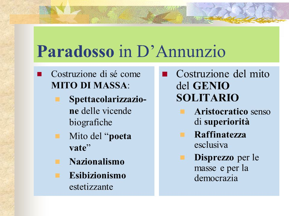 Paradosso in D'Annunzio
