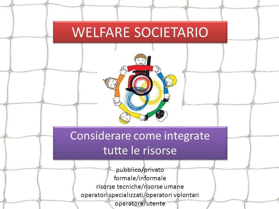 WELFARE SOCIETARIO Considerare come integrate tutte le risorse
