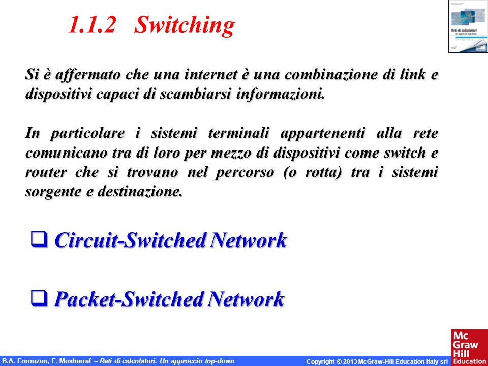 1.1.2 Switching Circuit-Switched Network Packet-Switched Network