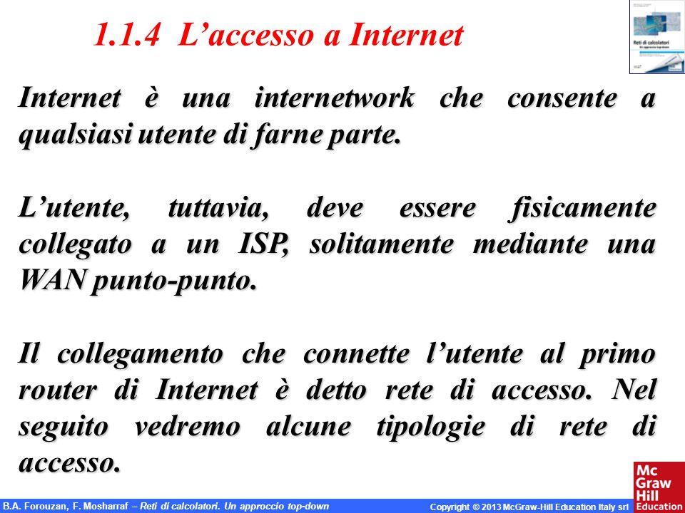 1.1.4 L'accesso a Internet Internet è una internetwork che consente a qualsiasi utente di farne parte.