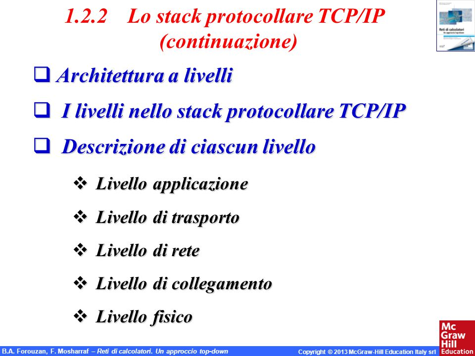 1.2.2 Lo stack protocollare TCP/IP (continuazione)