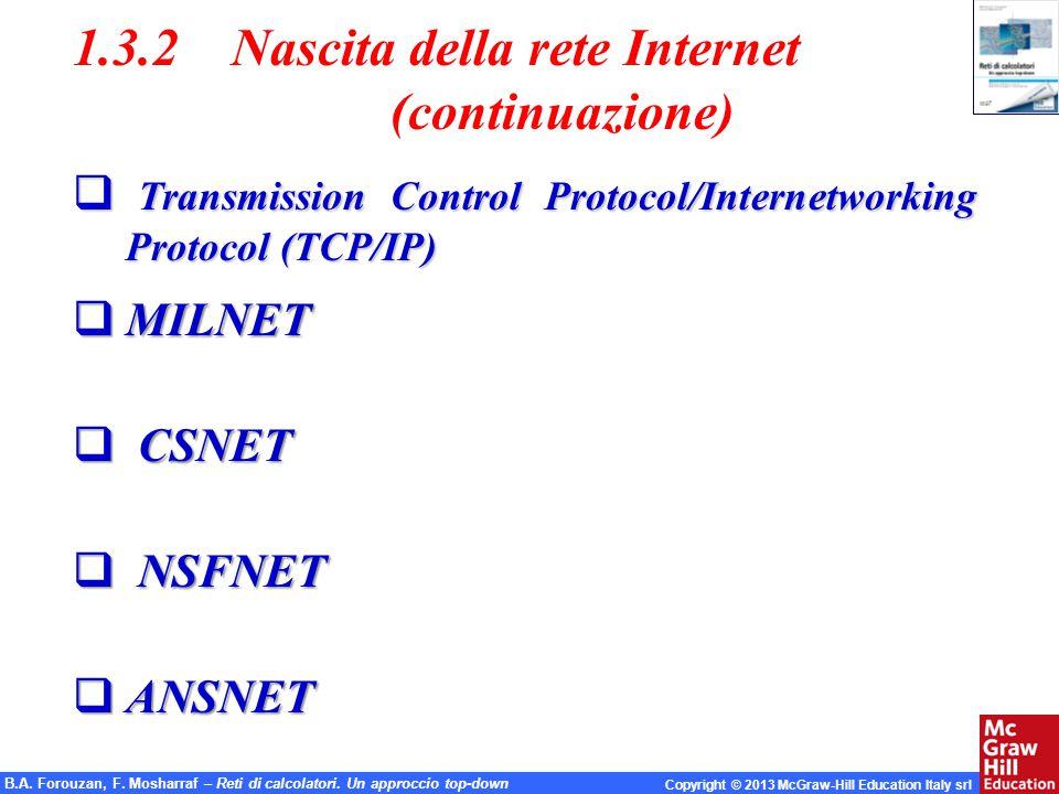 1.3.2 Nascita della rete Internet (continuazione)