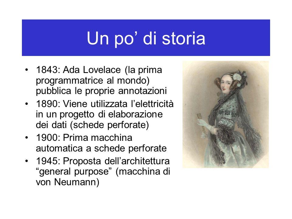 Un po' di storia 1843: Ada Lovelace (la prima programmatrice al mondo) pubblica le proprie annotazioni.