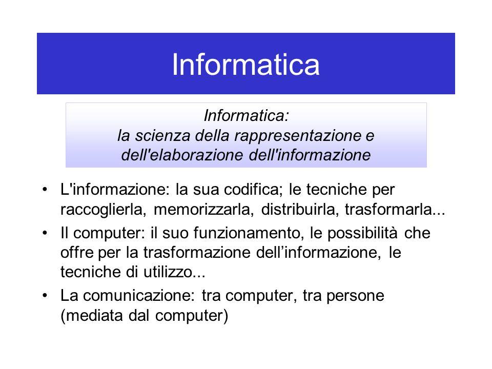 Informatica Informatica: la scienza della rappresentazione e dell elaborazione dell informazione.