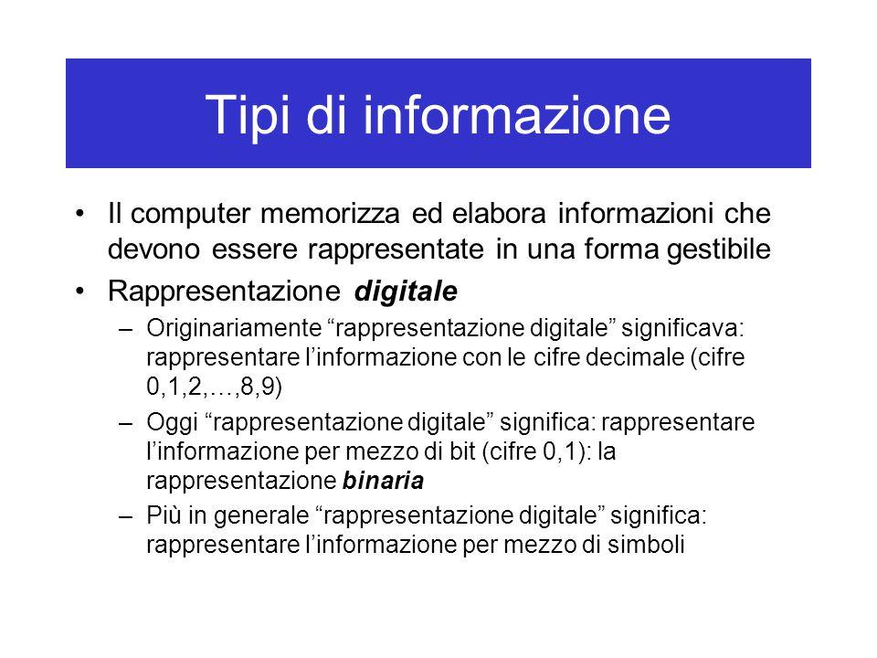 Tipi di informazione Il computer memorizza ed elabora informazioni che devono essere rappresentate in una forma gestibile.