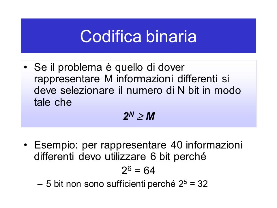 Codifica binaria Se il problema è quello di dover rappresentare M informazioni differenti si deve selezionare il numero di N bit in modo tale che.